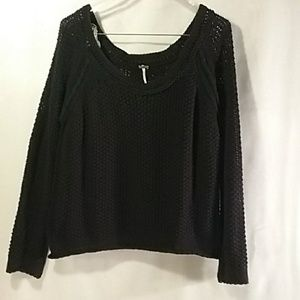 Free people open knit crop sweater size large
